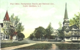 Post Office, Presbyterian Church and Railroad, Ave., Centre Moriches, L. I.